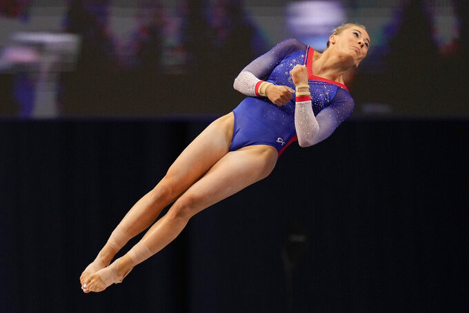 MyKayla Skinner competes on the vault during the women's U.S. Olympic Gymnastics Trials Sunday, June 27, 2021, in St. Louis. (AP Photo/Jeff Roberson)