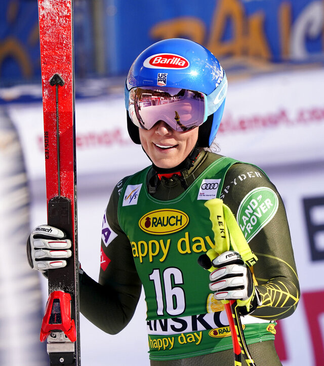 United States' Mikaela Shiffrin smiles at the finish line during an alpine ski, women's World Cup downhill, in Bansko, Bulgaria, Friday, Jan. 24, 2020. (AP Photo/Giovanni Auletta)