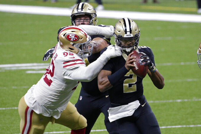 San Francisco 49ers defensive end Kerry Hyder (92) sacks New Orleans Saints quarterback Jameis Winston (2) in the second half of an NFL football game in New Orleans, Sunday, Nov. 15, 2020. (AP Photo/Butch Dill)