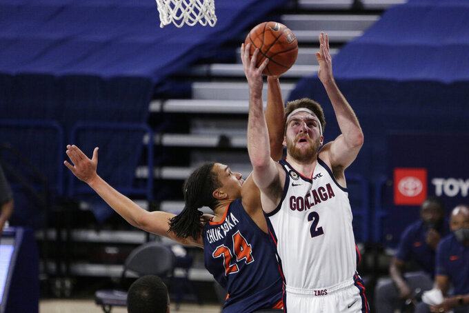 Gonzaga forward Drew Timme (2) shoots while pressured by Pepperdine forward Kene Chukwuka (24) during the first half of an NCAA college basketball game in Spokane, Wash., Thursday, Jan. 14, 2021. (AP Photo/Young Kwak)