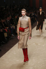 A model wears a creation as part of the Fendi women's Fall-Winter 2019-2020 collection, that was presented in Milan, Italy, Thursday, Feb.21, 2019. (AP Photo/Antonio Calanni)