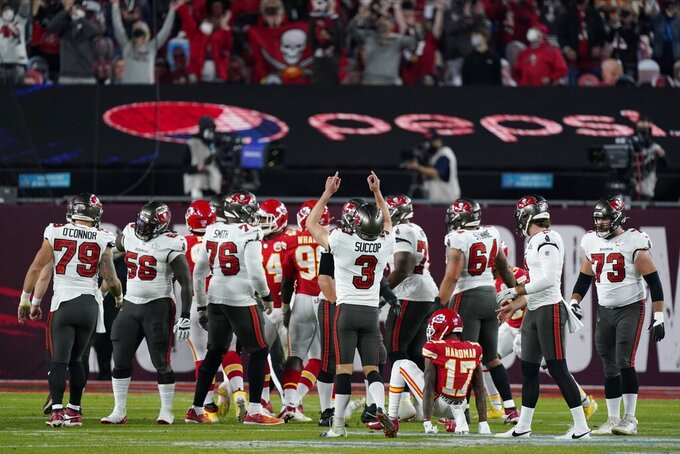 Tampa Bay Buccaneers kicker Ryan Succop (3) celebrates his point after against the Kansas City Chiefs during the first half of the NFL Super Bowl 55 football game Sunday, Feb. 7, 2021, in Tampa, Fla. (AP Photo/Mark Humphrey)