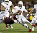 Fresno State quarterback Marcus McMaryion (6) runs against Minnesota in the third quarter of an NCAA college football game, Saturday, Sept. 8, 2018 in Minneapolis. Minnesota defeated Fresno State 21-14. (AP Photo/Andy Clayton-King)