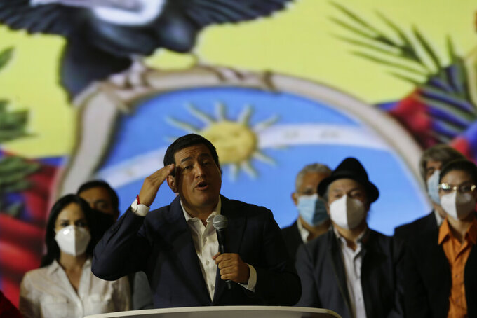 Andres Arauz, presidential candidate of the Alianza Union por la Esperanza, UNES, speaks from his campaign headquarters in Quito, Ecuador, Sunday, April 11, 20201. With most of the votes counted Guillermo Lasso, candidate of Creating Opportunities party, CREO, a former banker, had a lead over Arauz, a protege of former President Rafael Correa. (AP Photo/Angel Dejesus)