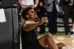 Pittsburgh guard Malik Ellison reacts during the second half of the team's NCAA college basketball game against Georgia Tech on Wednesday, Feb. 20, 2019, in Atlanta. Georgia Tech won 73-65. (AP Photo/Danny Karnik)