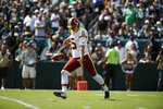 FILE - In this Sept. 8, 2019, file photo, Washington Redskins punter Tress Way is shown during an NFL football game, in Philadelphia. A popular Redskins podcast is trying to send Washington punter Tress Way to the Pro Bowl. Way leads all NFC punters in net yards and has pinned opponents inside the 20-yard line 24 times this season. (AP Photo/Matt Rourke, File)