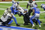 New Orleans Saints running back Latavius Murray rushes for a 6-yard touchdown during the second half of an NFL football game against the Detroit Lions, Sunday, Oct. 4, 2020, in Detroit. (AP Photo/Duane Burleson)
