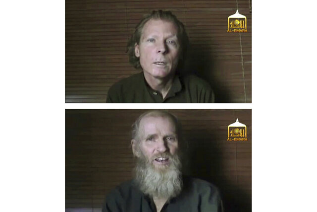 FILE - This combination of two photos taken from video released on June 21, 2017, by the Taliban spokesman Zabihullah Mujahid, shows kidnapped teachers Australian Timothy Weeks, top, and American Kevin King, who were abducted in Afghanistan in August 2016. King and Weeks were released Tuesday, Nov. 19, 2019, hours after the Afghan government freed three Taliban prisoners and sent them to Qatar. (AL-EMARA Taliban via AP, File)