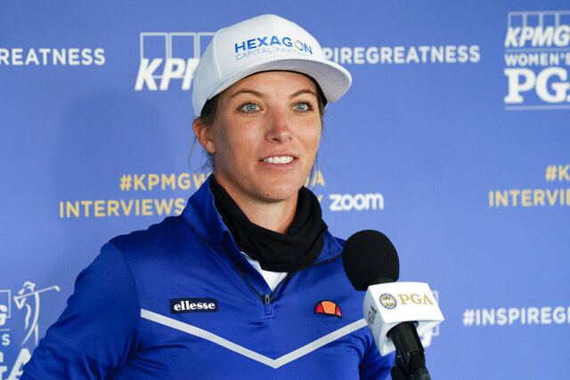 Mel Reid, of England, speaks during a news conference before the KPMG Women's PGA Championship golf tournament at the Aronimink Golf Club, Wednesday, Oct. 7, 2020, in Newtown Square, Pa. (AP Photo/Chris Szagola)