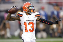 Cleveland Browns wide receiver Odell Beckham Jr. (13) passes the ball against the San Francisco 49ers during the first half of an NFL football game in Santa Clara, Calif., Monday, Oct. 7, 2019. (AP Photo/Ben Margot)