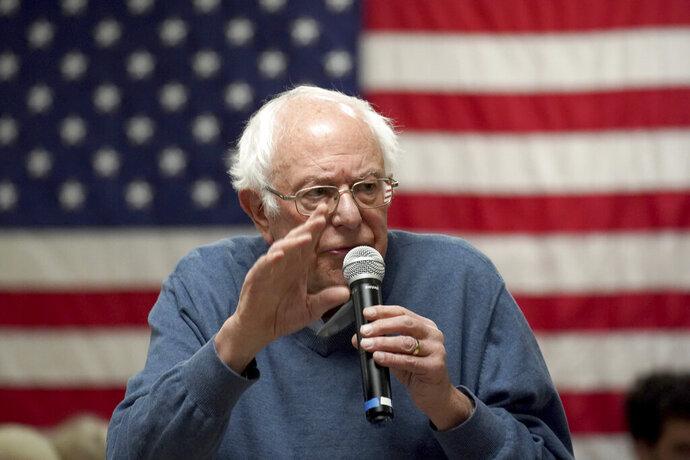 FILE - In this Nov. 24, 2019 file photo, Democratic presidential candidate Sen. Bernie Sanders, I-Vt., speaks during a campaign stop in Hillsboro, N.H. Social media users began circulating the claim on Twitter and Facebook on Sunday, Dec. 1,  to make it appear as though Sanders was winding down his campaign in South Carolina.  Sanders is not closing his campaign offices in South Carolina. In fact, Sanders has nine offices in the state and the campaign is expanding locations, Sarah Ford, a campaign spokeswoman for the Vermont senator, told The Associated Press in an email.(AP Photo/Mary Schwalm)