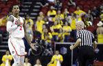 New Mexico's Corey Henson (2) reacts after sinking a 3-point shot during the second half of an NCAA college basketball game against Wyoming in the Mountain West Conference tournament, Wednesday, March 13, 2019, in Las Vegas. (AP Photo/Isaac Brekken)