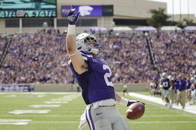 Kansas State running back Harry Trotter (2) celebrates in the end zone after scoring a touchdown during the first half of an NCAA college football game against Bowling Green Saturday, Sept. 7, 2019, in Manhattan, Kan. (AP Photo/Charlie Riedel)