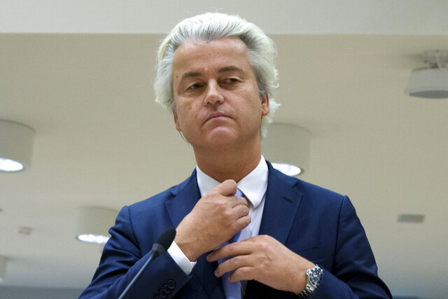 FILE - In this Nov. 23, 2016 file photo, populist anti-Islam lawmaker Geert Wilders prepares to address judges at the high-security court near Schiphol Airport in Amsterdam, during his hate-speech trial that pits freedom of expression against the Netherlands' anti-discrimination laws. A Dutch appeals court upheld Friday the conviction of anti-Islam lawmaker Geert Wilders for insulting Moroccans in comments he made at an election night gathering in 2014. He was cleared of incitement to hate and discrimination. (AP Photo/Peter Dejong, File)
