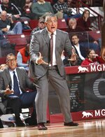South Carolina head coach Frank Martin, yells at his players during the first half of an NCAA college basketball game against Massachusetts Wednesday, Dec. 4, 2019, in Amherst, Mass. (J. Anthony Roberts/The Republican via AP)