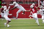 South Alabama cornerback Jalen Thompson (1) watches as safety Keith Gallmon (33) nearly intercepts a ball intended for Nebraska wide receiver Kanawai Noa (9) during the first half of an NCAA college football game in Lincoln, Neb., Saturday, Aug. 31, 2019. (AP Photo/Nati Harnik)