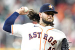 Houston Astros starting pitcher Lance McCullers Jr. throws against the Seattle Mariners during the first inning of a baseball game Monday, Sept. 6, 2021, in Houston. (AP Photo/David J. Phillip)