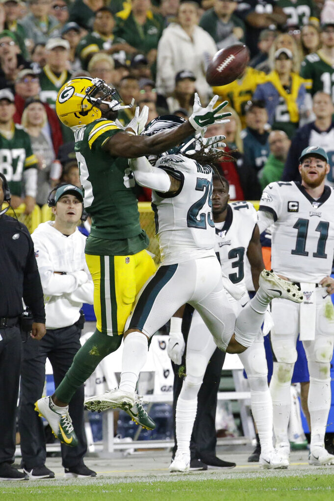 Philadelphia Eagles cornerback Avonte Maddox (29) breaks up a pass intended for Green Bay Packers wide receiver Marquez Valdes-Scantling during the second half of an NFL football game Thursday, Sept. 26, 2019, in Green Bay, Wis. (AP Photo/Mike Roemer)