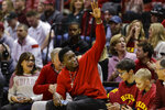 Former Indiana player and Indiana Pacers guard Victor Oladipo waves as he introduced in the first half of an NCAA college basketball game between Indiana and Michigan State in Bloomington, Ind., Thursday, Jan. 23, 2020. (AP Photo/Darron Cummings)