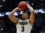 Purdue's Carsen Edwards shoots a 3-pointer during the first half of a second round men's college basketball game against Villanova in the NCAA Tournament, Saturday, March 23, 2019, in Hartford, Conn. Purdue won 87-61. (AP Photo/Elise Amendola)
