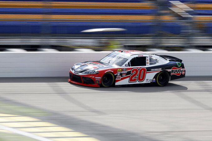 Christopher Bell drives his car during practice for a NASCAR Xfinity Series auto race, Saturday, June 15, 2019, at Iowa Speedway in Newton, Iowa. (AP Photo/Charlie Neibergall)