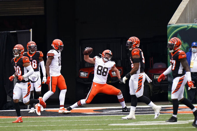 Cleveland Browns' Harrison Bryant (88) celebrates a touchdown reception during the first half of an NFL football game against the Cincinnati Bengals, Sunday, Oct. 25, 2020, in Cincinnati. (AP Photo/Bryan Woolston)