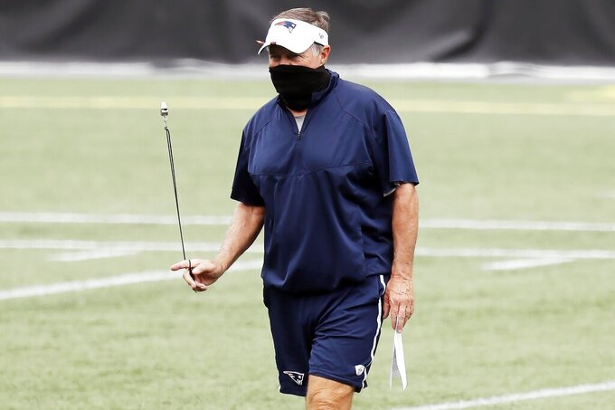 New England Patriots head coach Bill Belichick twirls his whistle before an NFL football training camp scrimmage, Friday, Aug. 28, 2020, in Foxborough, Mass. (AP Photo/Michael Dwyer, Pool)