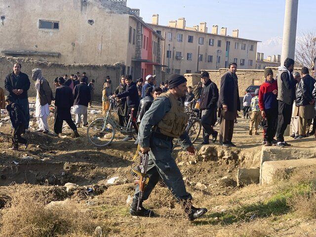 Security personnel arrive near the site of an attack near the Bagram Air Base In Parwan province of Kabul, Afghanistan, Wednesday, Dec. 11, 2019.A powerful suicide bombing Wednesday targeted an under-construction medical facility near the Bagram Air Base, the main American base north of the capital Kabul, the U.S. military said. (AP Photo/Rahmat Gul)