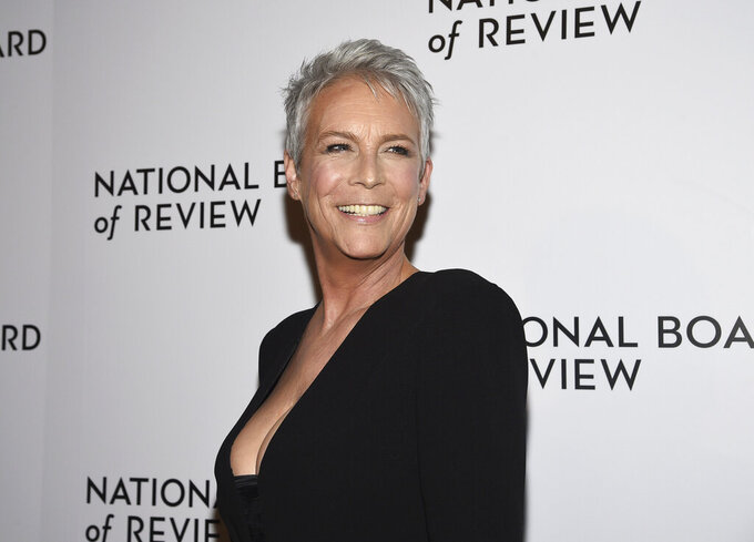 """FILE - Jamie Lee Curtis attends the National Board of Review Awards gala in New York on  Jan. 8, 2020. Curtis will be awarded the Golden Lion for Lifetime Achievement at the 78th Venice International Film Festival. Curtis will pick up the Golden Lion Lifetime Achievement on Sept. 8, when the latest installment, """"Halloween Kills,"""" is screened on Venice's Lido out of competition. (Photo by Evan Agostini/Invision/AP, File)"""
