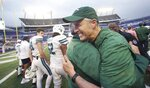 Tulane head coach Willie Fritz celebrates after winning the Cure Bowl NCAA college football game against Louisiana in Orlando, Fla, on Saturday, Dec. 15, 2018. (Stephen M. Dowell/Orlando Sentinel via AP)