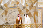 In this Wednesday, Nov. 27, 2019, photo released by Ministry of Presidential Affairs, Saudi Crown Prince Mohammed bin Salman, left, attends a ceremony with Abu Dhabi Crown Prince Mohammed bin Zayed Al Nahyan at Qasr Al Watan in Abu Dhabi, United Arab Emirates. Saudi crown prince is in the United Arab Emirates for talks that are expected to focus on the war in Yemen and tensions with Iran. (Mohamed Al Hammadi/Ministry of Presidential Affairs via AP)