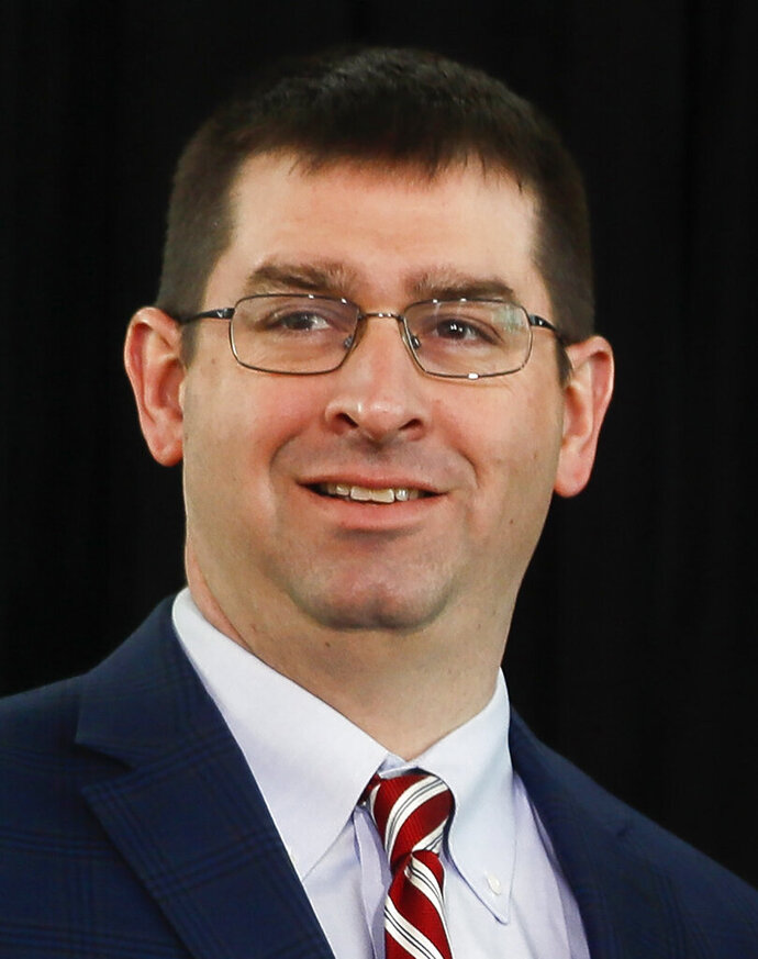 FILE - This is a Jan. 8, 2020, file photo showing Cincinnati Reds vice president and general manager Nick Krall.  Krall has been named director of baseball operations for the team. The Reds announced Monday, Oct. 19, 2020, that Krall was being promoted to replace Dick Williams, who resigned Oct. 7 to assume a larger role in his family's development business. Krall will still hold the GM title but now will report directly to owner Bob Castellini. (AP Photo/John Minchillo, File)