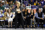 Baylor head coach Kim Mulkey questions a call during the second half of an NCAA college basketball game against Texas Christian in Fort Worth, Texas, Wednesday, Jan. 22, 2020. Baylor won 66-57. (AP Photo/Ray Carlin)
