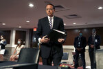 Former Deputy Attorney General Rod Rosenstein arrives for a Senate Judiciary Committee hearing on Capitol Hill in Washington, Wednesday, June 3, 2020. (Greg Nash/Pool via AP)