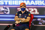 Red Bull driver Max Verstappen of the Netherlands attends a news conference at the Red Bull Ring racetrack in Spielberg, Austria, Thursday, June 24, 2021. The Styrian Formula One Grand Prix will be held on Sunday, June 27, 2021. (Christian Bruna/Pool via AP)
