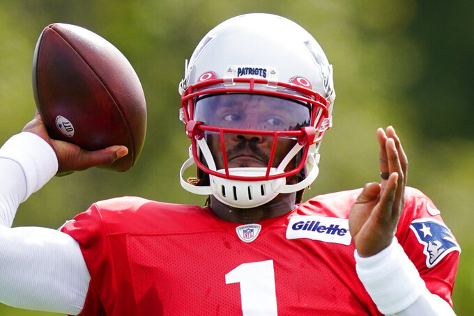 New England Patriots quarterback Cam Newton throws during a joint practice with the Philadelphia Eagles at the Eagles NFL football training camp Tuesday, Aug. 17, 2021, in Philadelphia. (AP Photo/Matt Rourke)