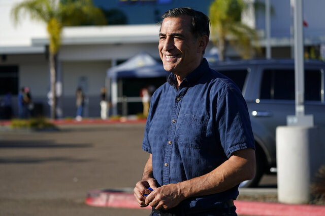 Congressional candidate and former Republican congressman Darrell Issa speaks during an interview Tuesday, Nov. 3, 2020, in San Marcos, Calif. Issa is running for Congress in California's 50th district. (AP Photo/Gregory Bull)