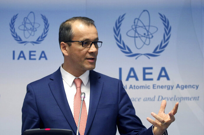 Acting Director General of the International Atomic Energy Agency (IAEA), Cornel Feruta, addresses the media during a news conference after a meeting of the IAEA board of governors at the International Center in Vienna, Austria, Monday, Sept. 9, 2019. (AP Photo/Ronald Zak)