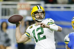 Green Bay Packers quarterback Aaron Rodgers throws during the first half of an NFL football game against the Detroit Lions, Sunday, Dec. 29, 2019, in Detroit. (AP Photo/Duane Burleson)
