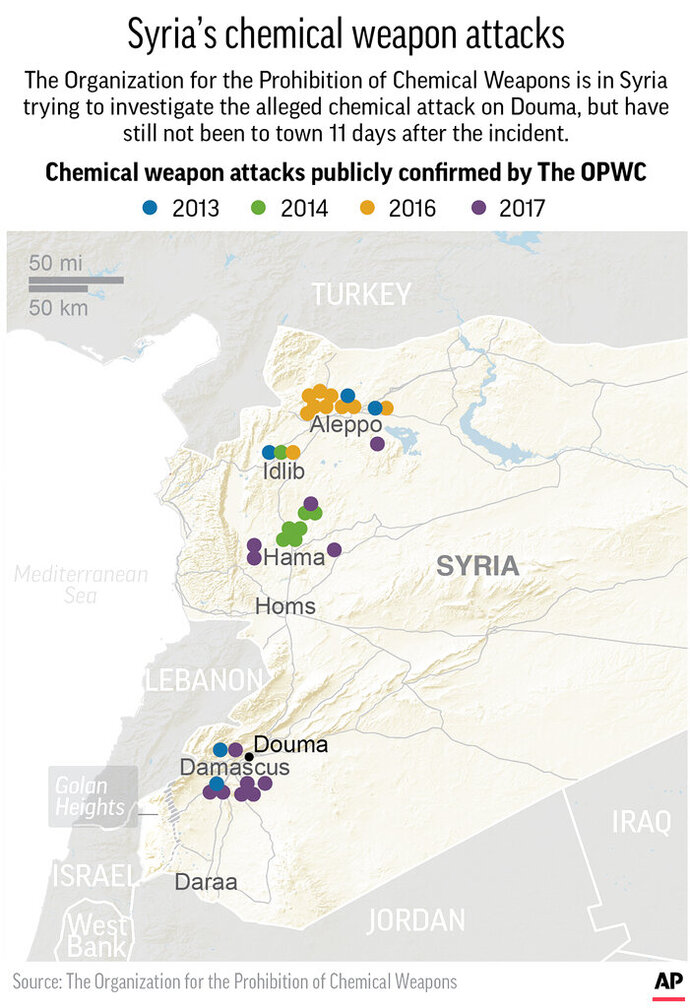 Map locates OPWC publicly confirmed chemical weapon attacks since 2013; 2c x 4 1/2 inches; 96.3 mm x 114 mm;