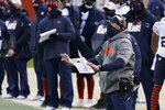 Chicago Bears head coach Matt Nagy give instructions during the second half of an NFL football game against the Houston Texans, Sunday, Dec. 13, 2020, in Chicago. (AP Photo/Nam Y. Huh)