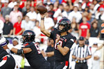 Texas Tech's Tyler Shough (12) passes the ball during the first half of the team's NCAA college football game against Stephen F. Austin, Saturday, Sept. 11, 2021, in Lubbock, Texas. (AP Photo/Brad Tollefson)