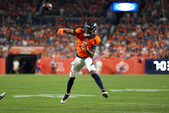 Denver Broncos quarterback Teddy Bridgewater (5) throws against the Los Angeles Rams during the first half of an NFL preseason football game, Saturday, Aug. 28, 2021, in Denver. (AP Photo/Jack Dempsey)