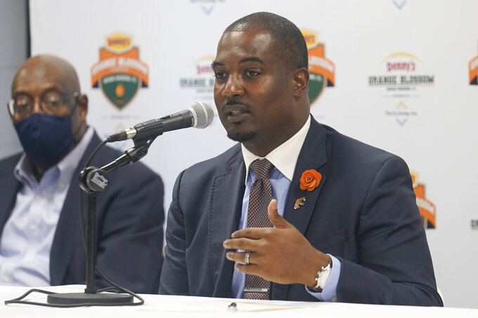 Florida A&M University head coach Willie Simmons speaks during an NCAA college football news conference, Friday, Sept. 3, 2021, in Miami Gardens, Fla. Jackson State University and Florida A&M will play in the Orange Blossom Classic on Sunday. (AP Photo/Marta Lavandier)