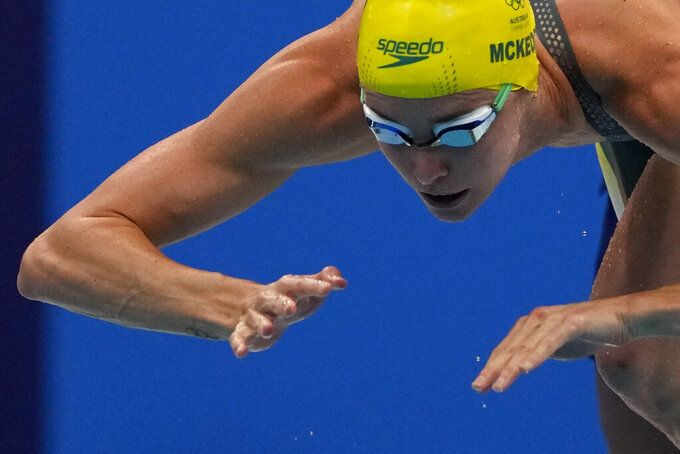Emma Mckeon, of Australia, starts in the women's 50-meter freestyle final at the 2020 Summer Olympics, Sunday, Aug. 1, 2021, in Tokyo, Japan. (AP Photo/Gregory Bull)