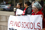 In this April 10, 2019, photo, educators from across the metro are gathered at Pioneer Courthouse Square in Portland, Ore., to press the Oregon Legislature for more school funding. Tens of thousands of teachers are expected to walk out across Oregon this week, adding to the string of nationwide protests over class sizes and education funding. (Mark Graves/The Oregonian via AP)