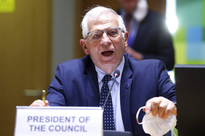 European Union foreign policy chief Josep Borrell speaks as he attends a meeting of EU foreign ministers to discuss the situation in Ukraine, at the European Council building in Brussels, Monday, April 19, 2021. European Union foreign ministers on Monday assessed the bloc's strategy towards Russia in the wake of the military buildup on Ukraine's borders and amid the weakening health of imprisoned opposition leader Alexei Navalny. (Francois Walschaerts, Pool via AP)