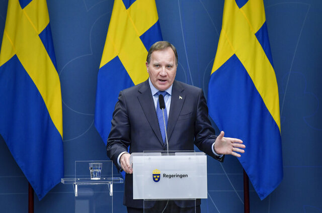 Sweden's Prime Minister Stefan Lofven speaks during a news conference on the coronavirus (Covid-19) pandemic situation at the government headquarters in Stockholm, Sweden, Tuesday, Nov. 3, 2020. Sweden's leader has gone into protective self-isolation even after a person close to him tested negative for COVID-19, as Sweden experiences a fall surge of coronavirus cases. Prime Minister Stefan Lofven broke the news on Facebook on Thursday, Nov. 5, 2020 the same day as the Scandinavian country appeared likely to pass 6,000 overall coronavirus deaths. (Jessica Gow/TT News Agency via AP)