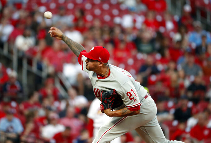 Philadelphia Phillies starting pitcher Vince Velasquez throws during the first inning of a baseball game against the St. Louis Cardinals Monday, May 6, 2019, in St. Louis. (AP Photo/Jeff Roberson)