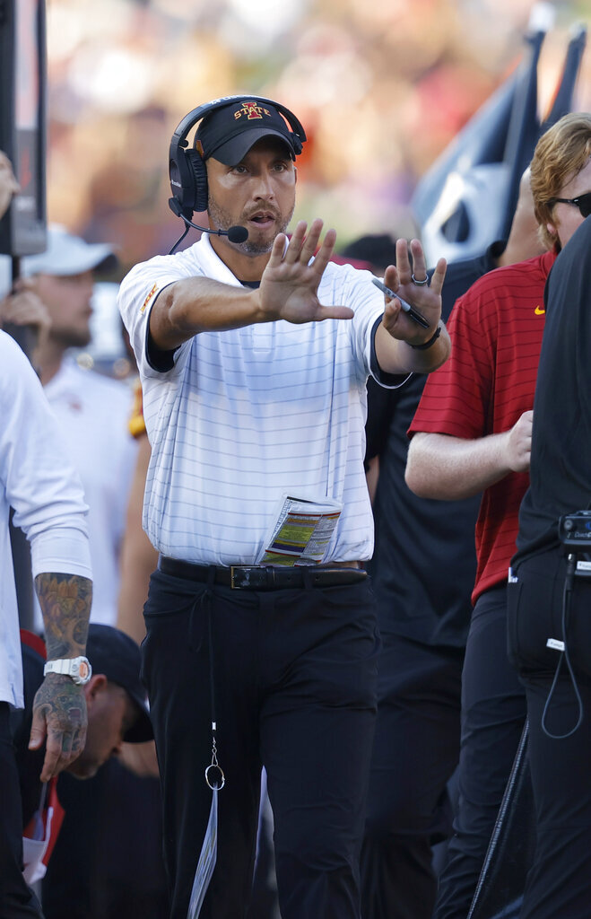 Iowa State head coach Matt Campbell directs his players during the second half of an NCAA college football game against Northern Iowa, Saturday, Sept. 4, 2021, in Ames, Iowa. Iowa State won 16-10. (AP Photo/Matthew Putney)